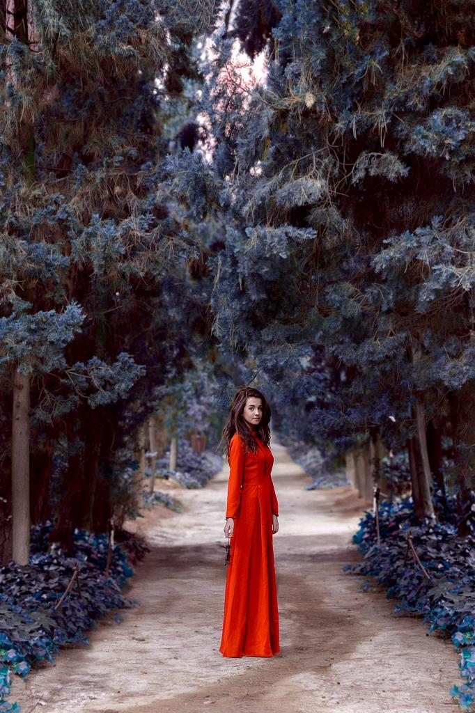 Joven con vestido largo en medio de un camino de cipreses.